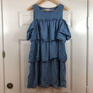 crown & ivy soft Jean Off The Shoulder Dress